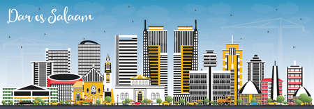 Dar Es Salaam Tanzania Skyline with Color Buildings and Blue Sky. Vector Illustration. Business Travel and Tourism Concept with Modern Architecture.