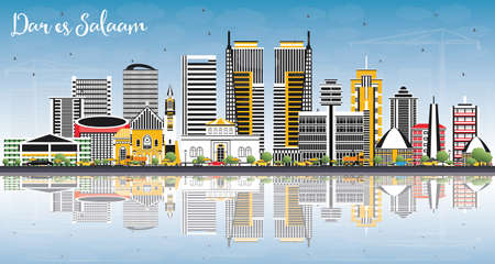 Dar Es Salaam Tanzania Skyline with Color Buildings, Blue Sky and Reflections. Vector Illustration. Business Travel and Tourism Concept with Modern Architecture.