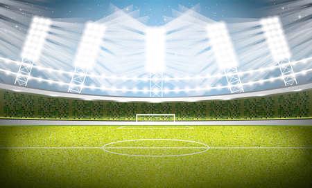 Soccer stadium. Football arena, vector Illustration.