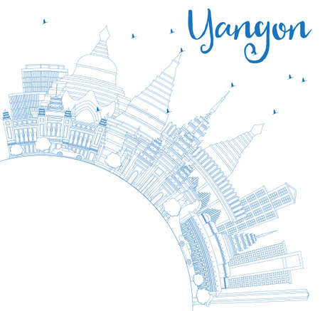 Outline Yangon Skyline with Blue Buildings and Copy Space. Vector Illustration. Business Travel and Tourism Concept with Historic Architecture. Image for Presentation Banner Placard and Web Site.