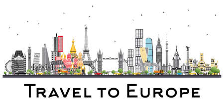 Famous Landmarks in Europe. London, Paris, Moscow, Rome, Madrid. Vector Illustration. Business Travel and Tourism Concept. Image for Presentation, Banner, Placard and Web Site.
