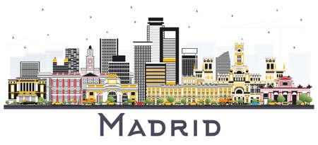 グレーの建物が白い背景で隔離のマドリード スペイン スカイライン。ベクトルの図。ビジネス旅行や歴史的建造物を観光概念です。