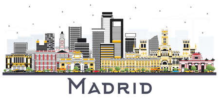 Madrid Spain Skyline with Gray Buildings Isolated on White Background. Vector Illustration. Business Travel and Tourism Concept with Historic Architecture. Ilustração