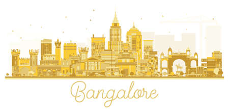 Bangalore City skyline golden silhouette. Vector illustration. Business travel concept. Cityscape with landmarks.