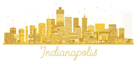 Indianapolis USA City skyline golden silhouette. Vector illustration. Business travel concept. Cityscape with landmarks. Stock Vector - 89916632