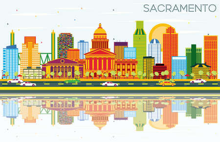 Sacramento USA Skyline with Color Buildings, Blue Sky and Reflections. Vector Illustration. Business Travel and Tourism Concept with Modern Architecture. Illustration