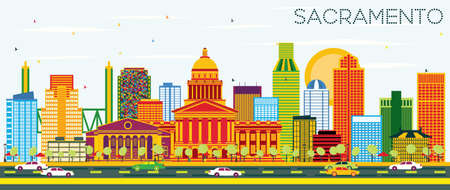 Sacramento USA Skyline with Color Buildings and Blue Sky. Vector Illustration. Business Travel and Tourism Concept with Modern Architecture. Image for Presentation Banner Placard and Web Site.