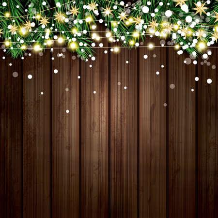 네온 등 및 눈송이와 전나무 지점 목조 배경 스톡 콘텐츠 - 90235659