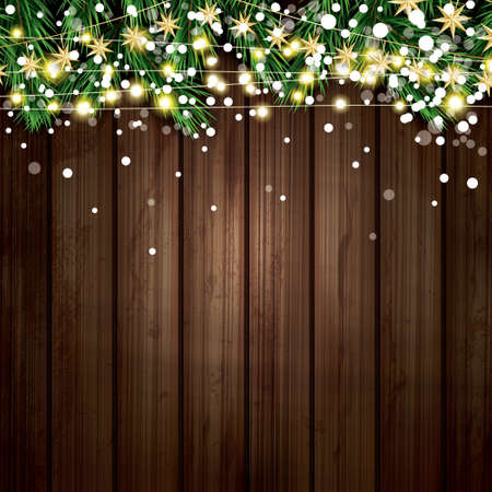 Fir Branch with Neon Lights and Snowflakes Wooden Background Vettoriali