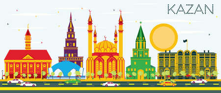 Kazan Skyline with Color Buildings and Blue Sky. Vector Illustration. Business Travel and Tourism Concept with Historic Architecture. Image for Presentation Banner Placard and Web Site.