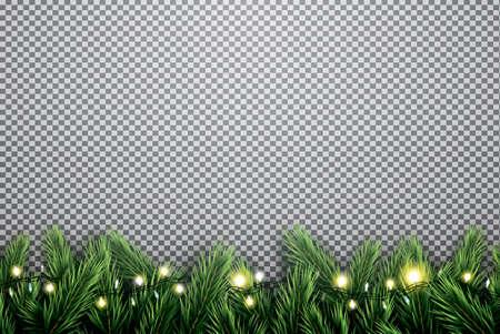 Tannenzweig mit Neonlichtern auf transparentem Hintergrund . Vektor-Illustration