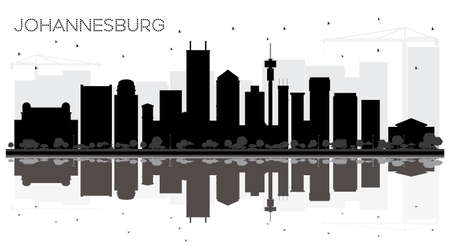 Johannesburg South Africa City skyline black and white silhouette with Reflections. Business travel concept. Cityscape with landmarks