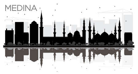 Medina Saudi Arabia City skyline black and white silhouette with Reflections. Vector illustration. Business travel concept. Cityscape with landmarks. Vetores