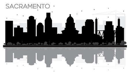 Sacramento City skyline black and white silhouette with Reflections. Vector illustration. Business travel concept. Cityscape with landmarks.