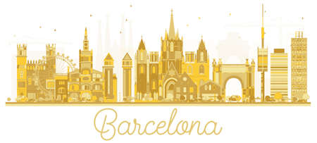 Barcelona Spain City skyline golden silhouette. Vector illustration. Business travel concept. Cityscape with landmarks.