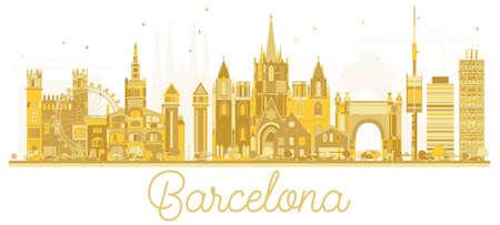 Barcelona Spain City skyline golden silhouette. Vector illustration. Business travel concept. Cityscape with landmarks.
