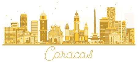 カラカスベネズエラ市のスカイラインゴールデンシルエット。ベクトルイラスト。ランドマークのある街並み。