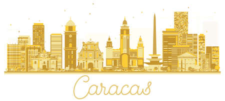 Caracas Venezuela City skyline golden silhouette. Vector illustration. Cityscape with landmarks. Ilustracja