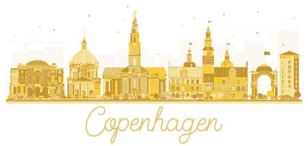 Kopenhagen Denemarken City skyline gouden silhouet. Vector illustratie. Zakelijke reizen concept. Stadsgezicht met bezienswaardigheden.