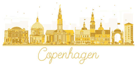 Copenhagen Denmark City skyline golden silhouette. Vector illustration. Business travel concept. Cityscape with landmarks.