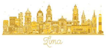 Lima Peru City skyline golden silhouette. Vector illustration. Simple flat concept for tourism presentation, banner, placard or web site. Cityscape with landmarks. Ilustração