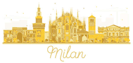 Milan Italy City skyline golden silhouette. Vector illustration. Business travel concept. Cityscape with landmarks.