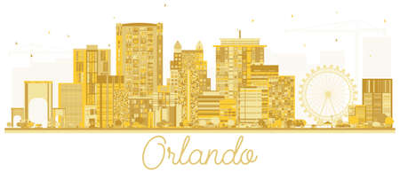 Orlando USA City skyline golden silhouette. Vector illustration. Cityscape with landmarks.