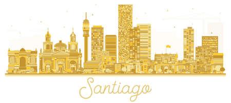 サンティアゴのチリの都市スカイラインの黄金シルエット。ベクトルの図。ランドマークと街並み。