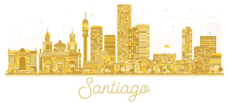 Santiago Chile City skyline golden silhouette. Vector illustration. Cityscape with landmarks.