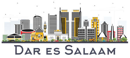 Dar Es Salaam Tanzania skyline with color buildings on white background. Business travel and tourism concept with modern architecture.