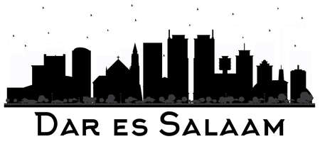 Dar Es Salaam Tanzania skyline black and Wwhite silhouette. Vector illustration. Simple flat concept for tourism presentation, banner, placard or web site. Business travel concept. Ilustrace