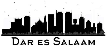 Dar Es Salaam Tanzania skyline black and Wwhite silhouette. Vector illustration. Simple flat concept for tourism presentation, banner, placard or web site. Business travel concept. Ilustração