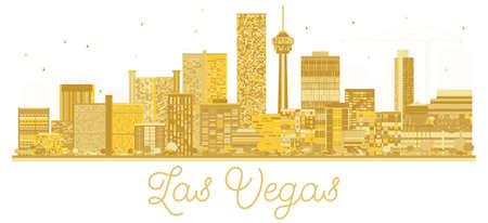 Las Vegas USA City skyline golden silhouette. Vector illustration. Business travel concept. Cityscape with landmarks.  イラスト・ベクター素材
