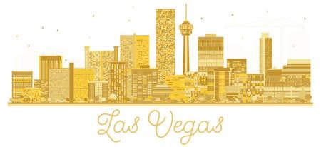 Las Vegas USA City skyline golden silhouette. Vector illustration. Business travel concept. Cityscape with landmarks. Illustration