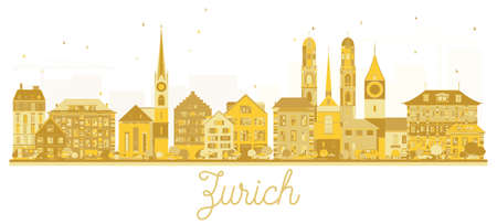 Zurich Switzerland City skyline golden silhouette. Vector illustration. Business travel concept. Zurich Cityscape with landmarks.