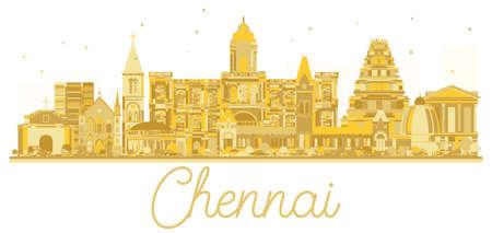 Chennai India City skyline golden silhouette. Vector illustration.