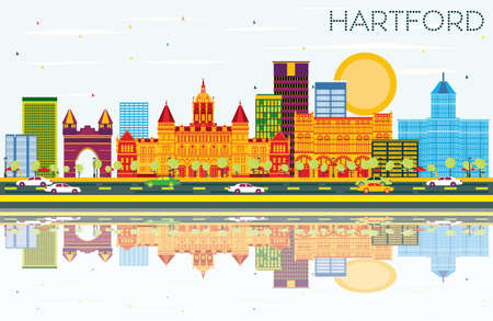 Hartford Skyline with Color Buildings, Blue Sky and Reflections. Vector Illustration. Business Travel and Tourism Concept with Historic Architecture.