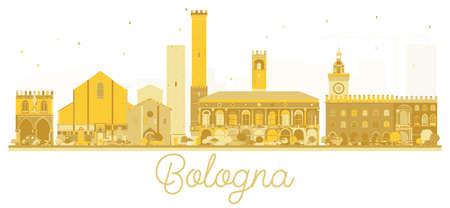 ボローニャイタリアシティスカイラインゴールデンシルエット。ベクトルイラスト。出張コンセプト。ランドマークのあるボローニャの街並み。