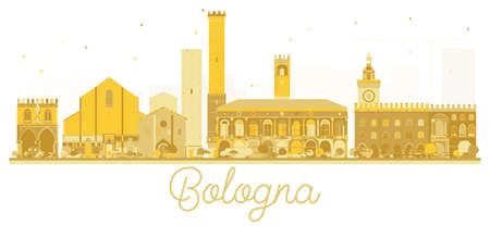 Bologna Italy City skyline golden silhouette. Vector illustration. Business travel concept. Bologna Cityscape with landmarks.