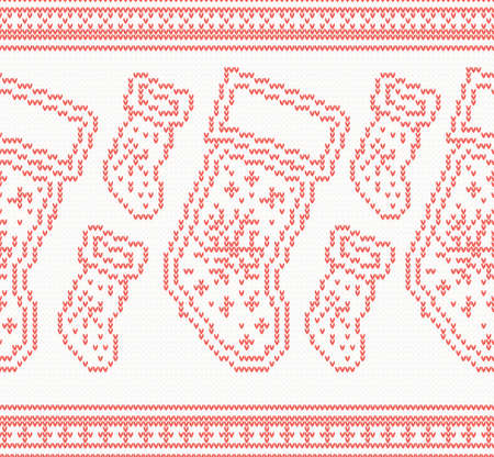 Knitted Christmas Socks Seamless Pattern in Red Color. Vector Illustration.