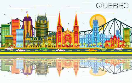 Quebec Canada Skyline with Color Buildings, Blue Sky and Reflections. Vector Illustration. Business Travel and Tourism Concept with Historic Architecture. Image for Presentation Banner Placard.