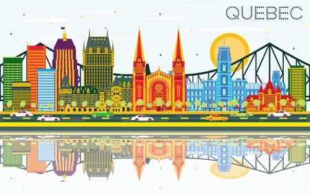 Quebec Kanada Skyline mit Farbe Gebäuden, blauer Himmel und Reflexionen. Vektor-Illustration. Geschäftsreise-und Tourismus-Konzept mit historischer Architektur. Bild für Präsentation Bannerplakat.
