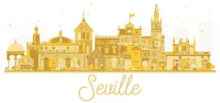 Sevilha, Espanha, cidade, horizonte, dourado, silhueta. Ilustração do vetor. Conceito de viagem de negócios. Sevilha Cityscape com marcos históricos.