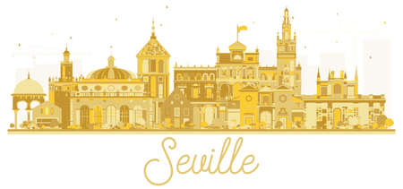 Seville Spain City skyline golden silhouette. Vector illustration. Business travel concept. Seville Cityscape with landmarks.