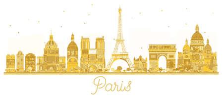 Siluetta dorata dell'orizzonte della città di Parigi. Illustrazione vettoriale Concetto di viaggio d'affari. Parigi isolato su sfondo bianco. Archivio Fotografico - 90869106