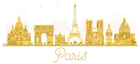 Paris City skyline golden silhouette. Vector illustration. Business travel concept. Paris isolated on white background.