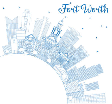 Outline Fort Worth USA Skyline with Blue Buildings and Copy Space. Vector Illustration. Business Travel and Tourism Concept with Modern Architecture. Image for Presentation Banner Placard and Web Site. Illustration