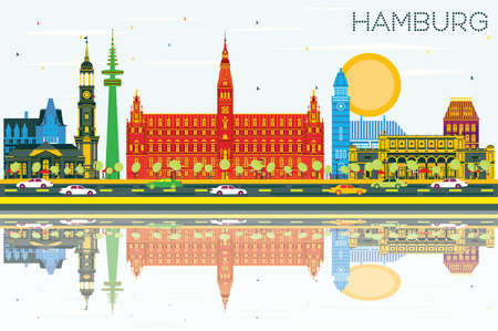 Skyline de Hambourg avec les bâtiments de couleur, le ciel bleu et les réflexions. Illustration vectorielle Concept de voyage d'affaires et de tourisme avec l'architecture historique. Paysage urbain de Hambourg avec des monuments.