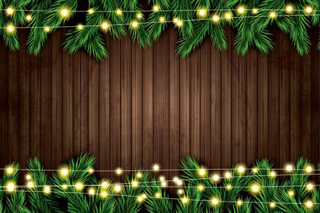 Fir Branch with Neon Lights on Wooden Background. Vector illustration. Illustration