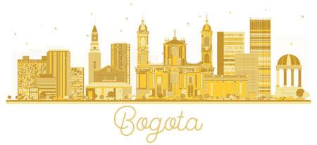 ボゴタ コロンビア市黄金のスカイライン シルエット。ベクトルの図。ビジネス旅行の概念。ボゴタのランドマークと街並み。